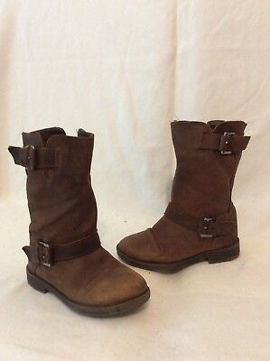 Girls Zara Brown Leather Boots Size 25