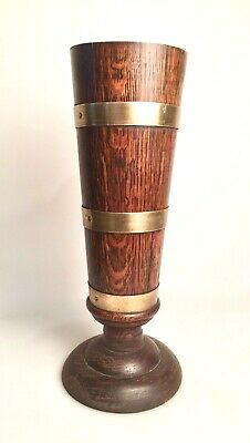 Antique Solid Oak & Brass Band Urn Vase Zinc Lined 16 inches Tall