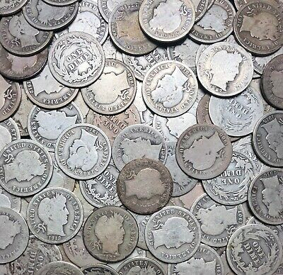 Lot Of 5 - Barber Dimes 10c Silver Coins - Random Picks From Estate Lot