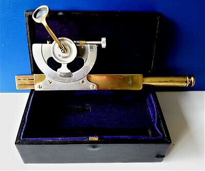 Antique Military Brass & Steel Abney Level/Clinometer & Leather Box