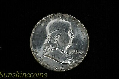 1958 P Franklin Silver Half Dollar Uncirculated Luster + Free Shipping **L@@K!