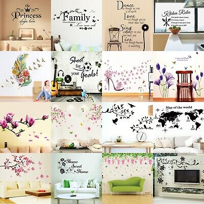 Flower Tree Quotes Wall Sticker Art Living Room Removable Decals Home DecorSC
