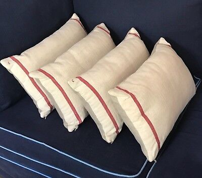 Vintage French Stripe Linen Cushions. New Old Stock Fabric. Provence.