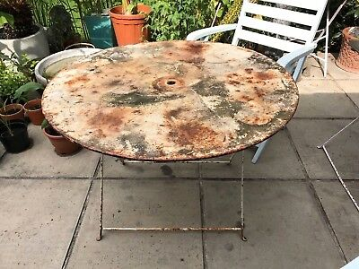 French Bistro Folding Table. Antique / Vintage, Large Circular