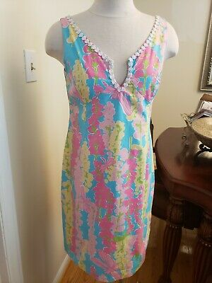 3c1ff77b23bc Lilly Pulitzer Dress Floral Pastel Multi-Colo Cotton Blend Sheath V-Neck  Size 6