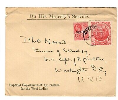 Barbados 1919 War Tax official mail cover to Washington DC with War Tax stamp