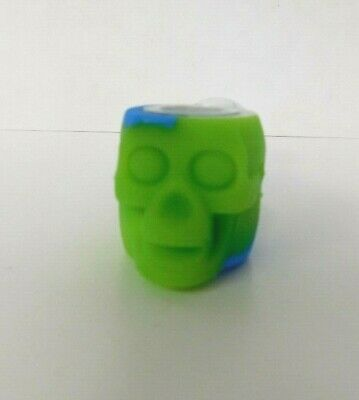 "4"" Skull SILICONE TOBACCO PIPE (GLASS SLIDE BOWL +STASH CONTAINER"