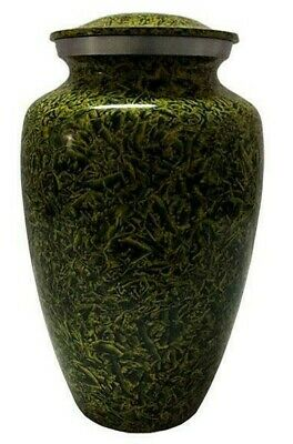 Large/Adult 200 Cubic Inch Metal Green Funeral Cremation Urn for Ashes