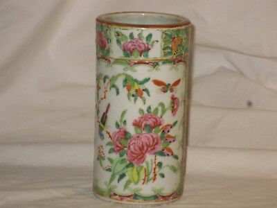 Antique 19th Century Chinese Canton Famille Rose Brush Pot
