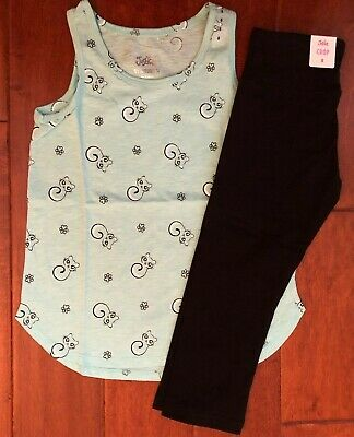 NWT JUSTICE Girls 8 Aqua Kitty Cat Tank & Crop Leggings Outfit