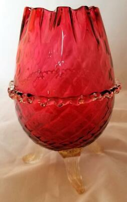 Vintage Cranberry Diamond Optic Glass  Vase Applied Clear Rigery Gold Dust Feet