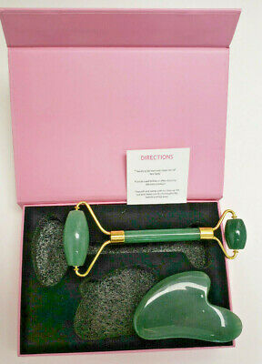Quartz Jade Roller & Gua Sha For Face Body Facial Therapy Massager Stone Beauty