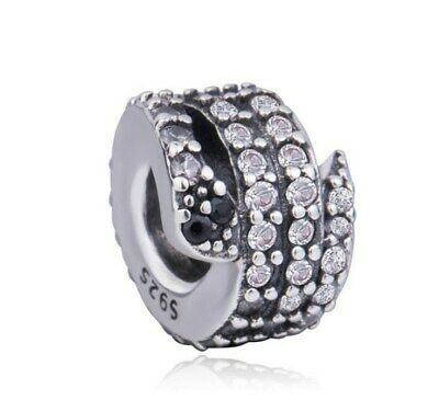 Sterling Silver Sparkling Snake Charm Clear CZ Charm Bead Fit European BRCLT