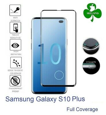 Samsung Galaxy S10 Plus Tempered Glass Curved Screen Protector Full 3D with Hole