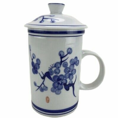 Tea Cup Infuser With Lid World Market China White Porcelain Blue Flowers