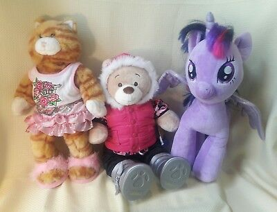 Lot 3 Build A Bear Plush Tiger Cat * My Little Pony * Allergy Free Bear +Clothes