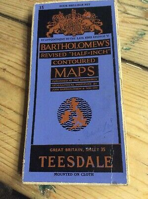 Vintage O S Map of Teesdale, Sheet 35 - Stockton, Thirsk,  Mounted On Cloth