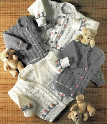 Girls Knitting Pattern CARDIGANS  in 8 ply Copy 1 to 6 years