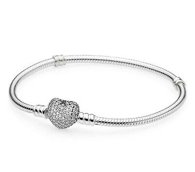 Silver Snake Chain Bracelet with PAVE HEART CLASP Fit European Charms
