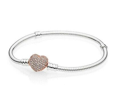 Silver Snake Chain Bracelet with Rose Gold PAVE HEART CLASP Fit European Charms