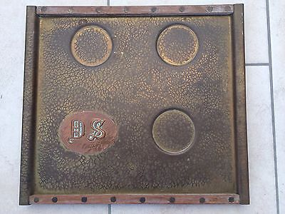 Arts and Crafts Tray Brass Hammered Finish Wood Edging DS Motif