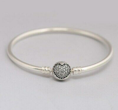 Silver Bangle  Bracelet with Sparkling Heart Clasp Pave Crystals Fit EU Charms