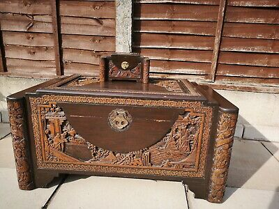 Antique Oriental Camphor Wood chest with matching jewellery box.