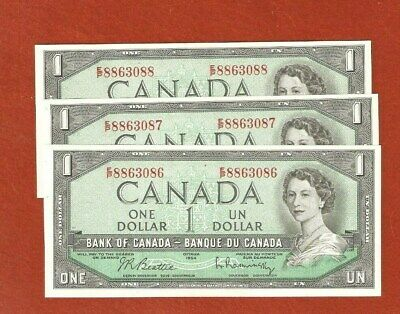 3 1954 Consecutive Serial Number One Dollar Bank Notes Gem Uncirculated E548