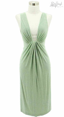 aabe737f462 O1 DONNA KARAN Designer Dress Size 4 Small Green Sundress Sleeveless Casual