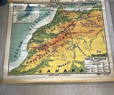 ⭕️ Vintage French Mid Century Modern School Map MOROCCO w Original Wood