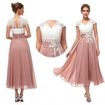 b1fa7613194a Plus Lace Applique Mother of the Bride Dresses Tea-length Party Evening Gown  New
