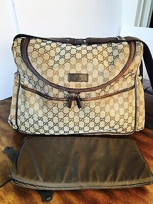 8496d57effec Authentic Gucci Basic GG Supreme Canvas Unisex Diaper Bag with Changing Pad