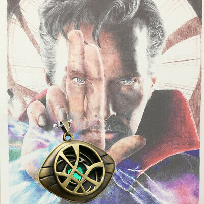 Dr Doctor Strange Eye of Agamotto Amulet Pendant Necklace GLOW In Avengers