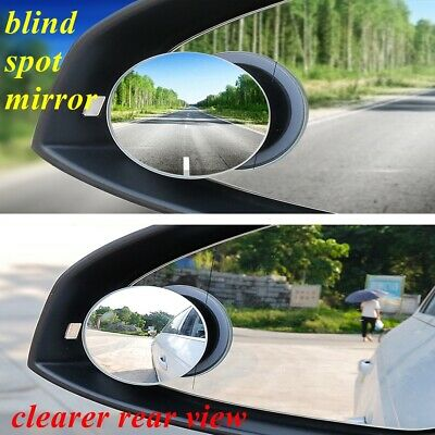 2x Blind Spot Mirrors Rimless Convex HD Glass Rear/Side View  360° Ajustable