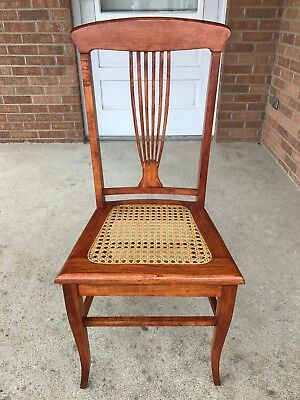 Antique Vintage Wood Dining Side Chair Harp Back Caned Seat Beautiful Condition