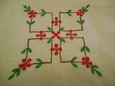 Vintage Linen Cream Red Hand Embroidery Tablecloth Flowers Square Edge