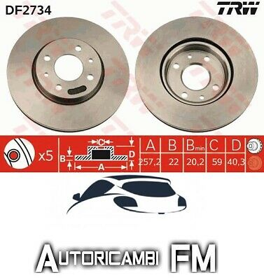 2 DISCHI FRENO ANTERIORE ATE FIAT QUBO 1.4 NATURAL POWER KW:57 2009/> 422197
