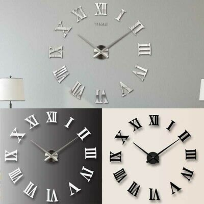 DIY 3D Wall Clock Roman Numeral Metallic Mirror Stick On Clock Home Art Decor