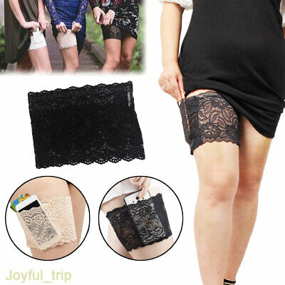 Sexy Lace Thigh Band Pocket Non-slip Sock Cell Phone Ladies Garter Solid Hosiery