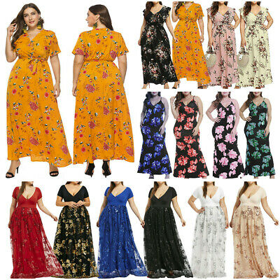 380588d7b662b Plus Size Women Short Sleeve Cold Shoulder Flower Print Party Long Maxi  Dress
