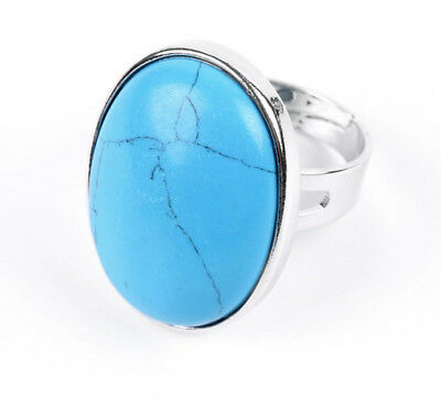 R238e Ring Silver Plated Oval with Turquoise Blue Adjustable Size