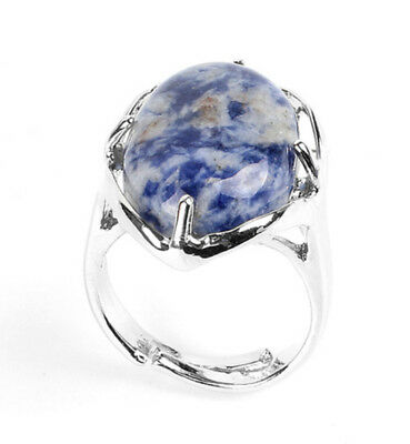 R385e Ring Silver Plated with Blue Veined Quartz Oval Adjustable Size