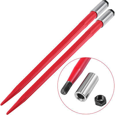 """Two 47"""" 3000 lbs Capacity Hay Bale Spear Spike Skid Red Nut 1 3/4""""Wide Tine"""