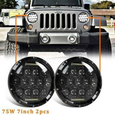 Pair 7inch LED Headlights Projector Lens High Output DRL For GQ PATROL / JEEP