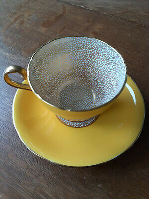 Aynsley 4847 Yellow and Gold Teacup and Saucer