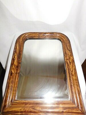 Antique Mirror Napoleon III Ice Original Finish Faux Wood Style Magnifier