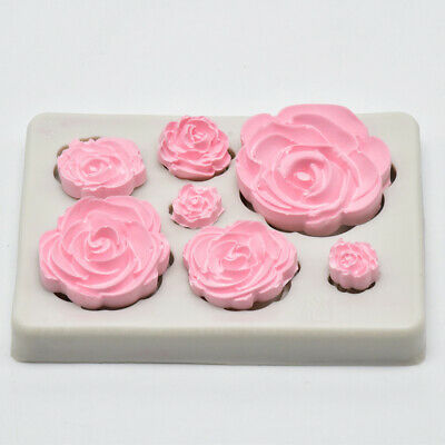 7 Cavity Rose Shape Silicone DIY Handmade Soap Candle Cake Candy Mold Mould Tool