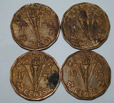 Canada 1943 5 Cents Tombac x 4 George VI Canadian Victory Nickel Lot #G22