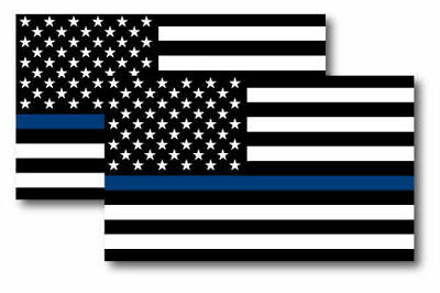 2X THIN BLUE LINE AMERICAN FLAG MAGNETS 3x5 INCH PACK OF 2 DECALS FOR CAR FRIDGE