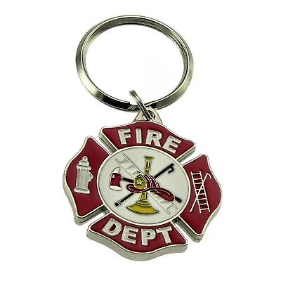 Fire Department Key Ring Firefighter Maltese Cross Emblem Keychain Keyholder Tag